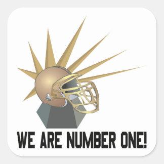 Vi är numrerar en fyrkantigt klistermärke