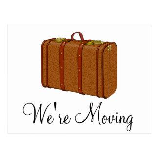 Vi flyttar resväskameddelandevykort vykort