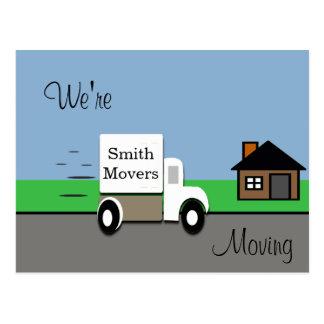 Vi flyttar röra lastbilplats vykort