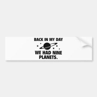Vi hade nio planet bildekal