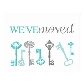 Vi har flyttat - blått- & grå färgnyckelvykort vykort