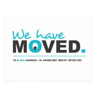 Vi har flyttat den röra meddelandevykortet för blå vykort