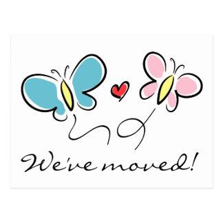 Vi har flyttat för vykort | för gullig fjäril röra