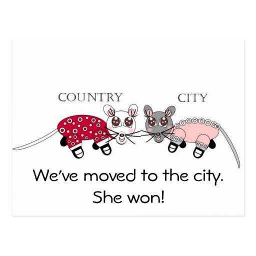 Vi har flyttat till staden vykort