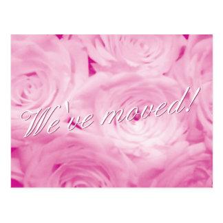 Vi har flyttat vykort med rosa rosblommor