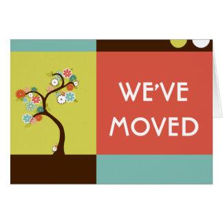 vi har flyttatmeddelande: retro träd OBS kort