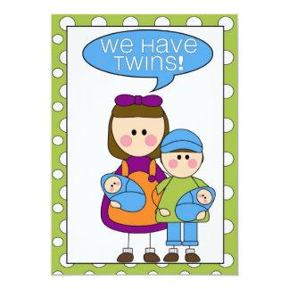 vi har twillingar! meddelandet (för syskon) 12,7 x 17,8 cm inbjudningskort