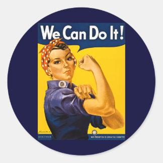 Vi kan göra det! Rosie Rivetervintagen WW2 Rund Klistermärke
