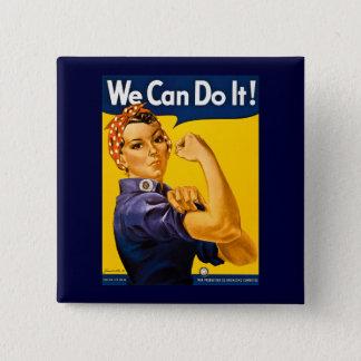 Vi kan göra det! Rosie Rivetervintagen WW2 Standard Kanpp Fyrkantig 5.1 Cm