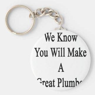 Vi vet att du ska gör en underbar rörmokare rund nyckelring