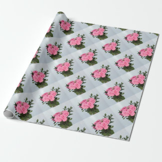 Vibrerande bukett av härliga rosa ros presentpapper