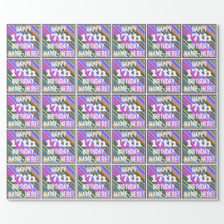 Vibrerande färgrik 17th födelsedag + presentpapper