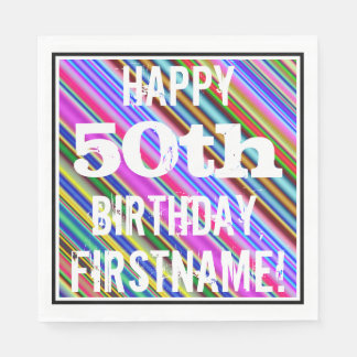 Vibrerande färgrik 50th födelsedag + pappersservett