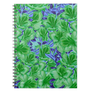 Vibrerande gröna blåttvintageblommor anteckningsbok med spiral