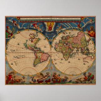 Vibrerande karta för gammal värld för färgvintage poster