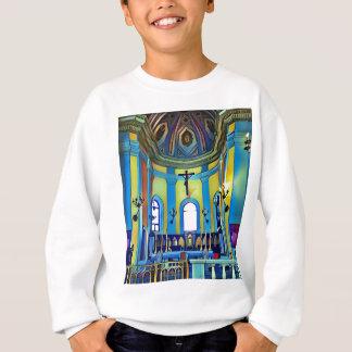 Vibrerande kyrkligt altare för sötgultblått t-shirts