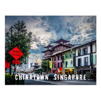 Vibrerande och färgglad Singapore Chinatown vykort