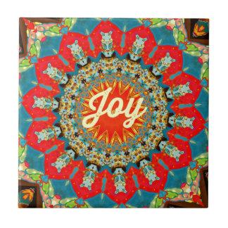 "Vibrerande röd gul Kaleidoscope""glädje"" design Kakelplatta"