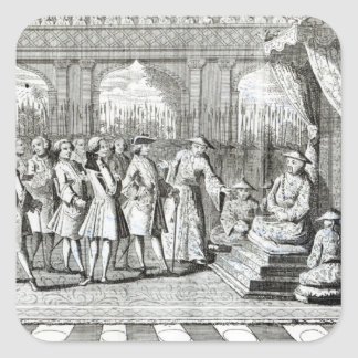 Viceroyen av cantonen som ger åhörare fyrkantigt klistermärke