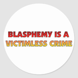 Victimless brott för hädelse runt klistermärke