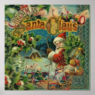 Victorian för vintage för juljultomten antik poster