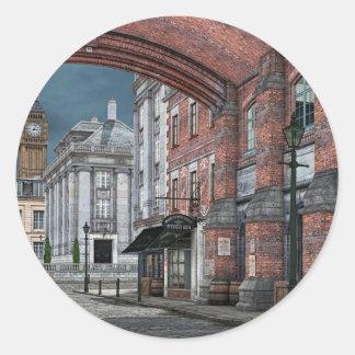 Victorian London med stora Ben Runt Klistermärke