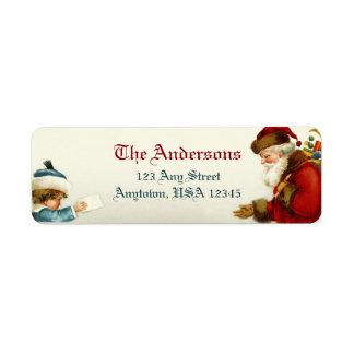 Victorian Santa och barn med julbrev Returadress Etikett