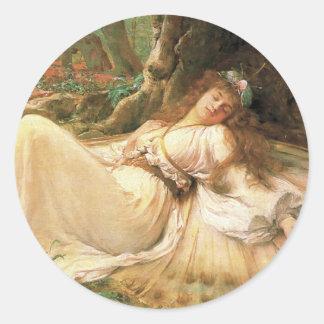 Victorianälvaklistermärke - sova skönhet Fae Runt Klistermärke