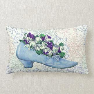 Victorianblått skor blommigt lumbarkudde
