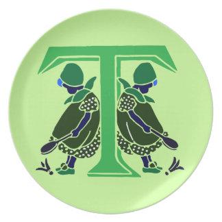 Victorianbrev T med 2 mörka gulliga liten flicka Tallrik
