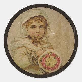 Victorianflicka med julro runt klistermärke