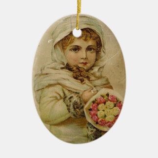 Victorianflicka med ro julgransprydnad keramik