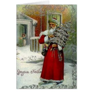 VictorianfranskJoyeux Noel julkort Hälsningskort