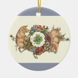 Victorianjulprydnad - två grisar med klöver julgransprydnad keramik