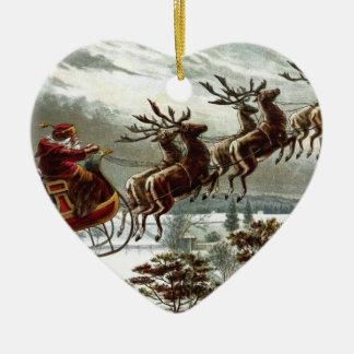 Victorianjultomten ren och Sleigh Hjärtformad Julgransprydnad I Keramik