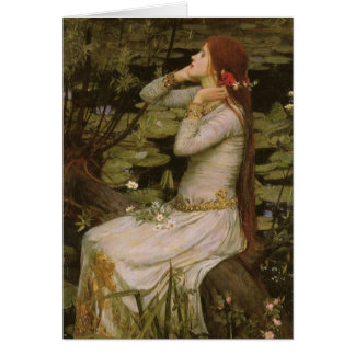 Victoriankonst, Ophelia vid damm vid waterhousen Hälsningskort