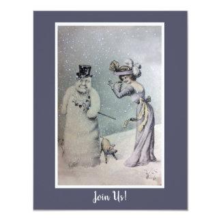 Victoriankvinna & Anthropomorphic snögubbe 10,8 X 14 Cm Inbjudningskort