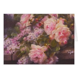 Victorianro- och lilakort hälsningskort