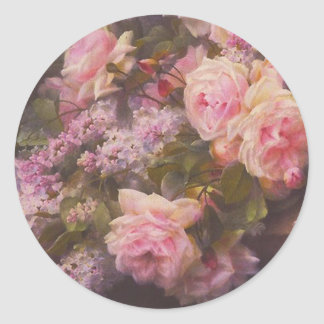Victorianro och lilor runt klistermärke
