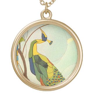 Viennese art nouveaupåfågel halsband med rund hängsmycke