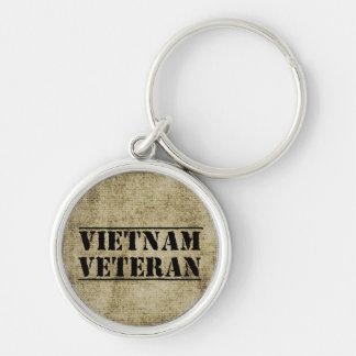 Vietnam veteranmilitär rund silverfärgad nyckelring