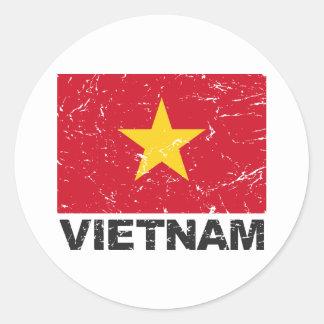 Vietnam vintageflagga runda klistermärken