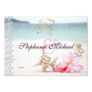 Vigselringar på strandbröllopinbjudan 12,7 x 17,8 cm inbjudningskort