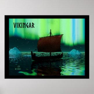 Viking frakt och nordligt ljus poster