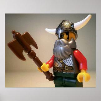 Viking krigare beställnings- Minifigure med stridy Poster
