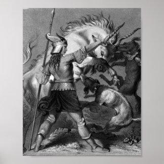 Viking kvinna med spjut och den bevingada hjälmen posters