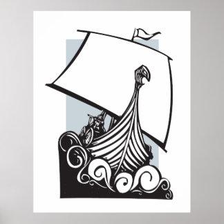 Viking Longship som seglar B Affisch