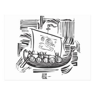 Viking LongShip träsnitt Vykort