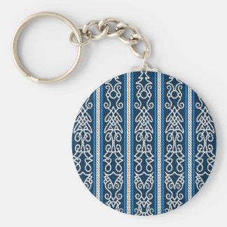 Viking mönsterblått rund nyckelring