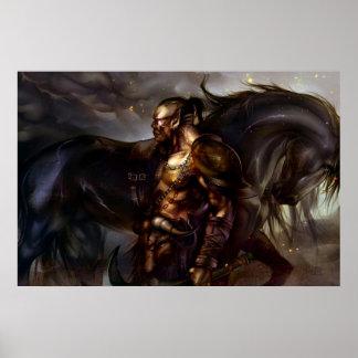 Viking och hästaffisch affisch